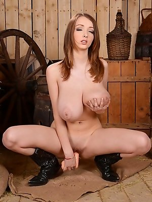Lucie Wilde cowboy girl gets nasty in barn